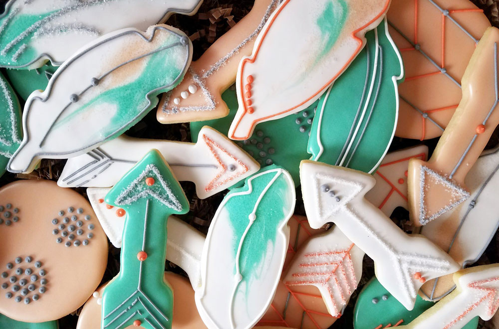 Feather arrow boho baby cookies